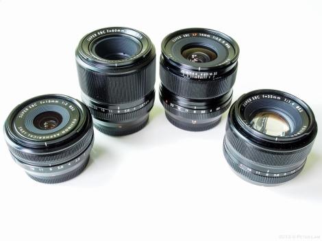 Fujinon primes: 18mm f2, 60mm f2.4, 14mm f2.8, 35mm f1.4
