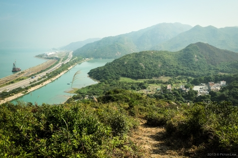 Up the first section, a fairly steep climb. Looking back at Pak Mong village below.