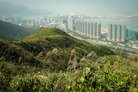 Looking north west down at Tung Chung and the Caribbean Coast residences.