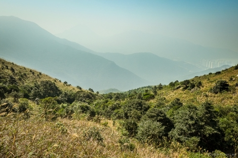 Looking down the valley, you can just make out Tung Chung through the haze.