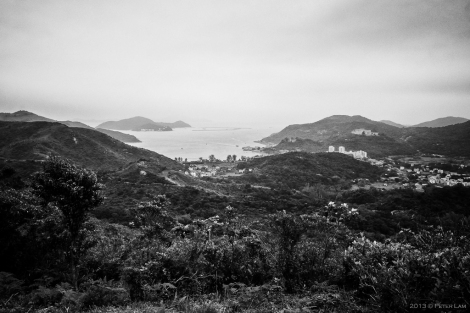 At the peak, looking down at Mui Wo and Silvermine Bay in the distance.