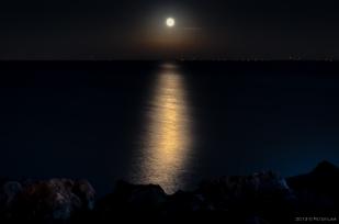 Moonrise over Collingwood, Georgian Bay