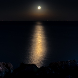 Moonrise over Collingwood, Georgian Bay