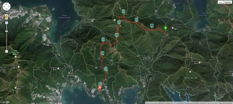 The route as tracked in Runkeeper.