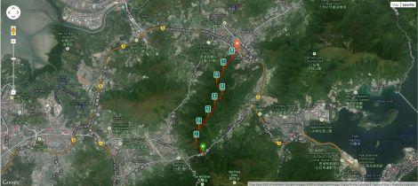 The hike tracked by Runkeeper.