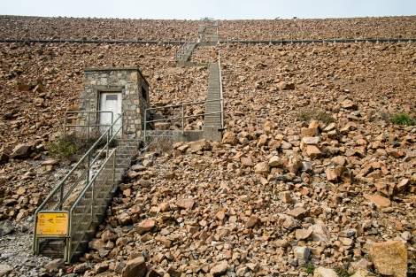 The main dam wall, which is a huge pile of rocks. We headed up the stairs which were technically off-limits.