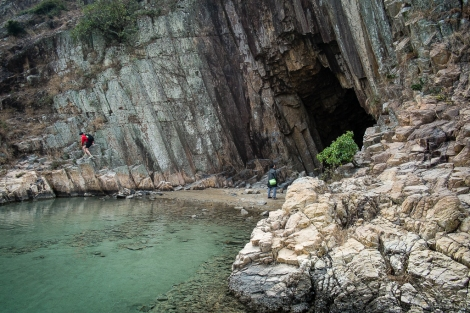 The cave is accessible by an easy climb.