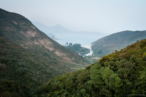 Looking north, Kap Man Hang river flows into Sai Wan bay.