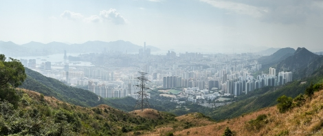 At the peak viewpoint, a panoramic view of Kowloon below.