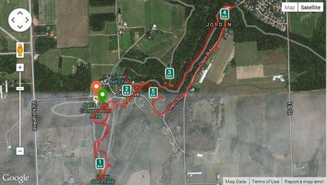 The hike tracked in Runkeeper.