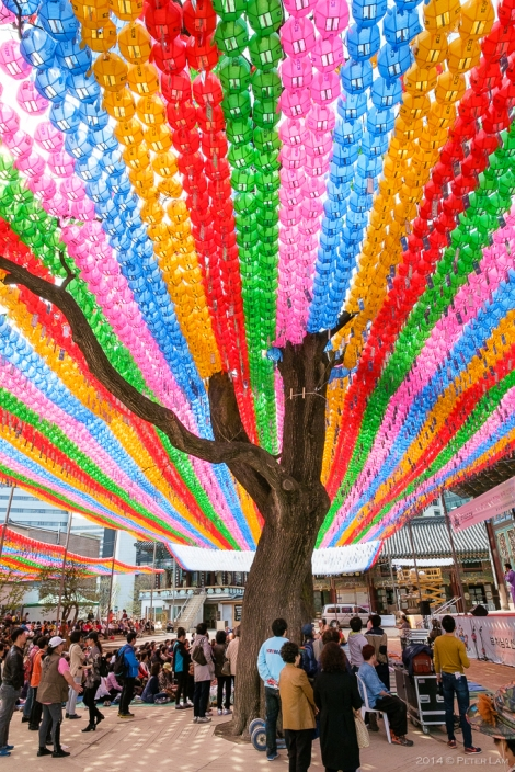 Colourful celebrations at Jogyesa Temple representing Korean Buddhism.