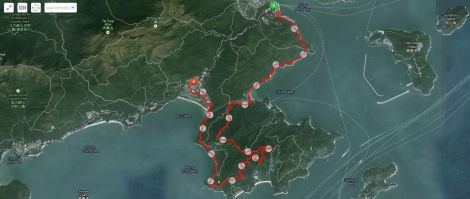 The route tracked by MapMyHike.