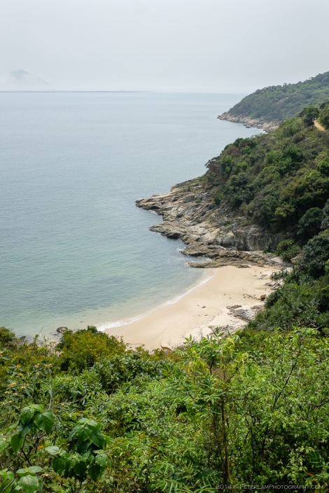 Isolated beach along the shores of Chi Ma Wan bay.