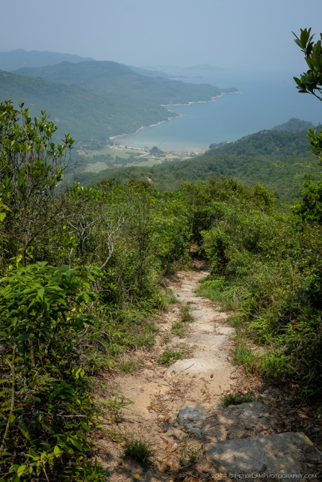 Half way up the first mountain, looking back at Chi Ma Wan bay.