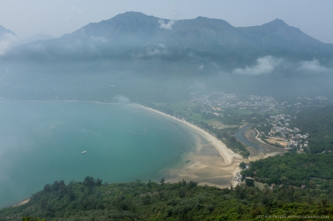 Looking down at a nice view of Pui O village and beach.